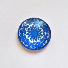 Sklenený kabošon Mandala modrobiela