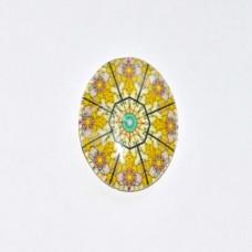 Sklenený kabošon ovál Žltá mandala