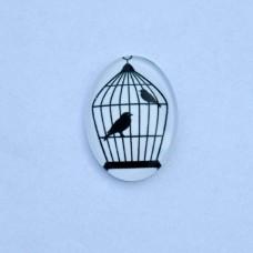 Sklenený kabošon ovál Klietka s vtákmi