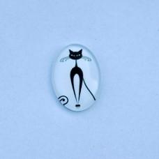 Sklenený kabošon ovál Mačička