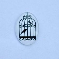 Sklenený kabošon ovál Párik vtáčikov