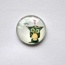 Sklenený kabošon Sova zaľúbená 12 mm
