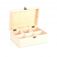 Drevená krabica na čaj 6 priehradiek