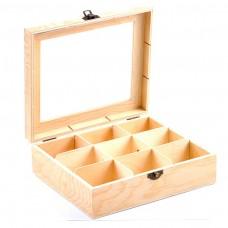 Drevená krabica na čaj 9 priehradiek