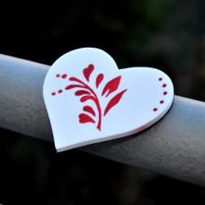 Magnetka Srdce Vetvička červená