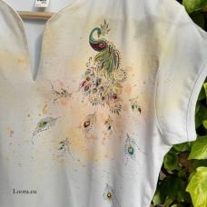 Dámske maľované tričko Páv