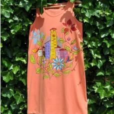 Maľované šaty Mestečko v kvetoch