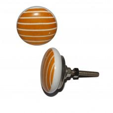 Keramický úchyt na dvere Oranžový, biele pruhy