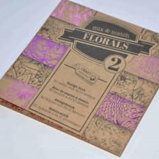 Vzorovaný papier 15x15 Natur Kvety