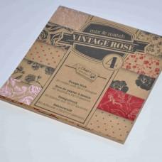 Vzorovaný papier 15x15 Natur Ruže