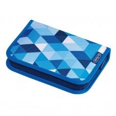 Peračník Herlitz 1 zipsový plný 2-klopý Kocka modrá