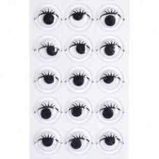 Samolepiace oči s mihalnicami 10 mm