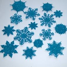 Snehové vločky, výrezy Tyrkysová glitrovaná 15 ks