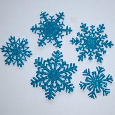 Snehové vločky, výrezy 3 Tyrkysová glitrovaná 5 ks