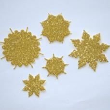 Snehové vločky, výrezy 1 Zlatá glitrovaná 5 ks