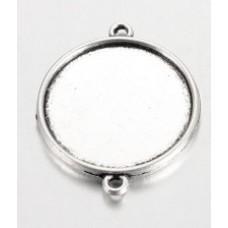 Prívesok kruhové lôžko s 2 očkami Strieborná