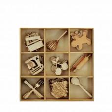 Drevené výrezy Kuchyňa 45 ks