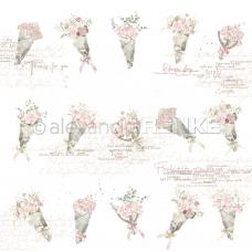 Vzorovaný papier A. Renke Kytice ruží