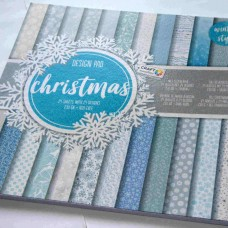 Vzorovaný papier 30x30 Vianočný modro biely