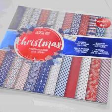 Vzorovaný papier 30x30 Vianočný modrý červený