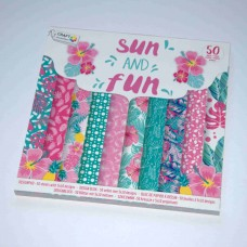 Vzorovaný papier 15x15 Slnko a kvety