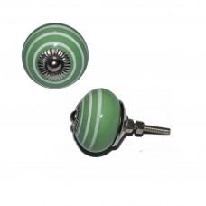 Keramický úchyt na dvere Zelený, biele pruhy