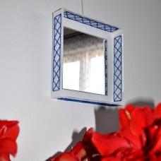 Štvorcové zrkadlo Modrá výšivka