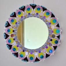 Kruhové zrkadlo Mandala fialová