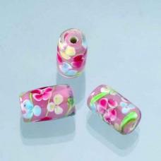 Sklenené korálky, valčeky, kvetinky Ružová