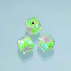 Sklenené korálky, kocky, kvetinky Zelená svetlá
