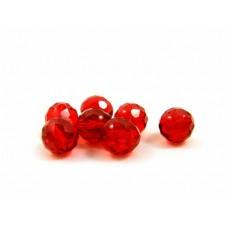 Sklenené brúsené korálky Červená 10 mm