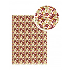 Samolepiaca látka Biela s bordovými kvetmi