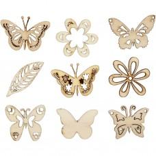 Drevené ozdoby Motýliky 45 ks