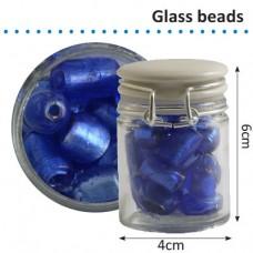 Sklenené korálky v dóze Modrá perleťová
