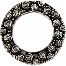 Kovový prívesok Kvetinový kruh - antik