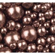 Sklenené voskované korálky Hnedá tmavá