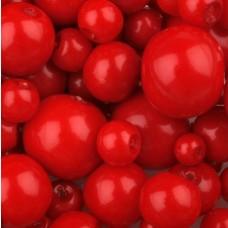 Sklenené voskované korálky Červená