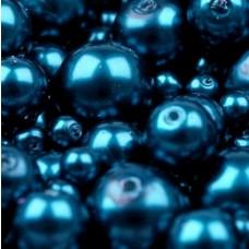 Sklenené voskované korálky Modrá Parížska