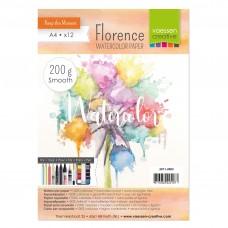 Akvarelový papier Florence hladký maslový A4 200 g/m2 / 12 ks