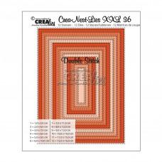 Crealies vyrezávacia šablóna Obdĺžniky s vonkajším a vnútorným prešívaním N°36