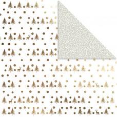 Dizajnový obojstranný papier 30,5x30,5 Zlatý stromy / sivý bodky