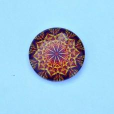 Sklenený kabošon Mandala oranžová