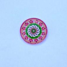 Sklenený kabošon Mandala ružová