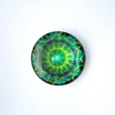 Sklenený kabošon Mandala zelená