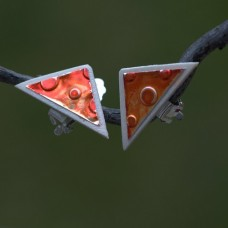 Náušnice Klipsne  Oranžový trojuholník