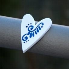 Magnetka Srdce modrý ornament