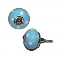 Keramický úchyt na dvere Modrý, biele bodky