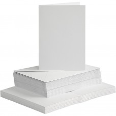Základ na pohľadnicu A6 a obálka Biela 50 ks