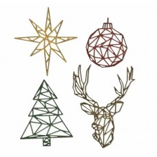 Sizzix Thinlits vyrezávacia šablóna Geo Christmas