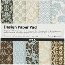 Dizajnový papier 15x15 Pastelový modro/hnedý